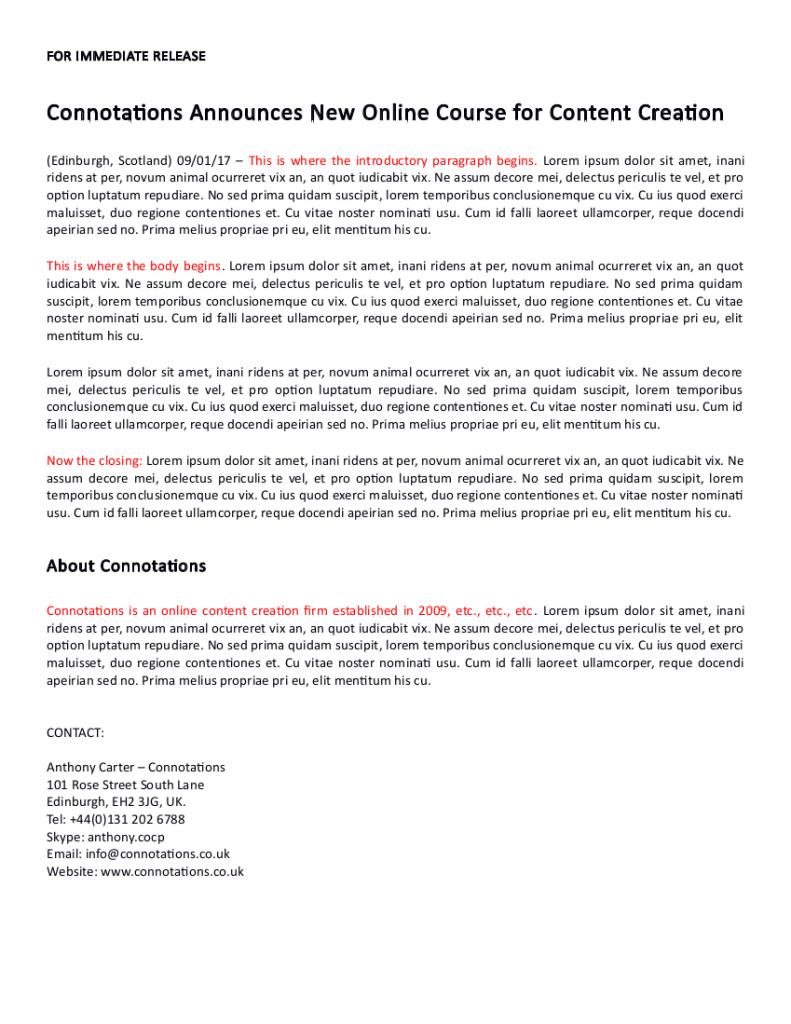 Press Release Sample 1
