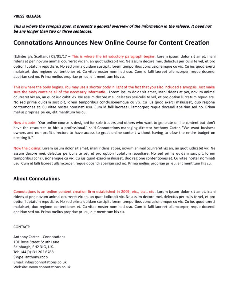 Press Release Sample 2